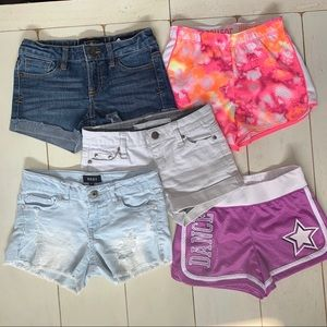 5 pairs shorts DKNY, Justice, Lucky Brand Sz: 8